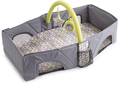 Lia Tragbares Reisebett für Ihr Baby, grau, bis 7kg, super leicht zu transportieren. Perfetk für den Urlaub