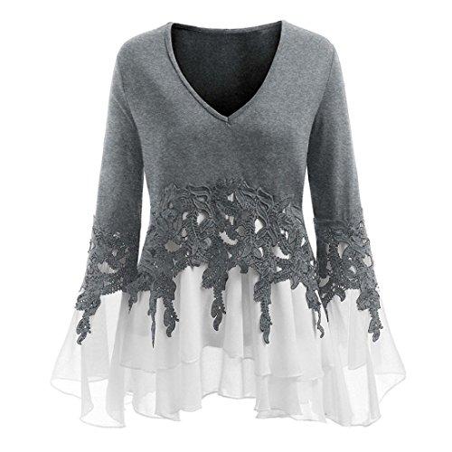 BaZhaHei Mode Frauen Applique Flowy Chiffon V-Ausschnitt Langarm Bluse Tops Lange Ärmel Chiffon...