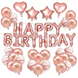 HusDow Happy Birthday Decorations Rose Gold Birthday Banner Confetti Balloons Latex Balloons 4pcs Foil Balloons with 3 Rolls Balloon Ribbon