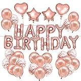 Купить HusDow 70pcs Happy Birthday Decorations Rose Gold Birthday Banner 10pcs Rose Gold Confetti Balloons 40pcs Rose Gold Latex Balloons 4pcs Foil Balloons with 3 Rolls Gold Strings