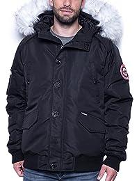 Legenders - Blouson homme hiver noir col fourrure