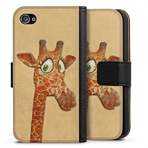 Apple iPhone X Silikon Hülle Case Schutzhülle Giraffe Wasserfarbe Muster Sideflip Tasche schwarz
