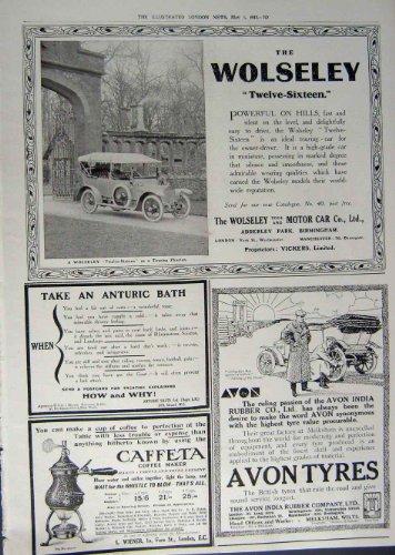 Bagno 1912 del caffÈ dei pneumatici di avon dell'automobile della pubblicitÀ wolseley
