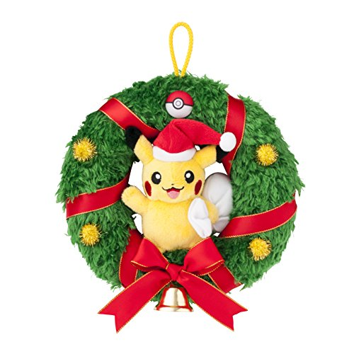 Pokemon-Center-Original-Pikachu-Corona-de-Navidad-Peluche