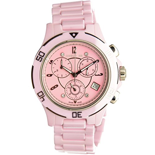 Cerruti 1881 Diamant Femme Montre 36 mm Cadran Rose avec Diamants High Tech en céramique