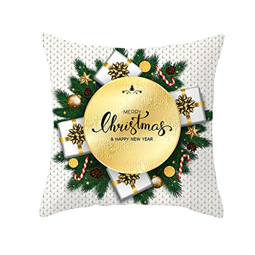 Alwayswin Weihnachten Dekoration Kissenbezug Glitter Polyester Sofa Dekokissen Cover Home Decor Weich Bequem Gedruckt Square Kissenhülle Hochwertig Kissenbezüge Gold Pfirsichkaschmir