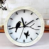 CWLLWC tischuhr standuhr,Kaminuhr Kreative Holz Uhr Retro-alte Holz Mute Dekorative Uhr 12 * 12cm