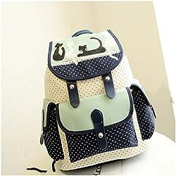 Fortuning's JDS® bonita gato & lunares de impresión de dibujos animados bolsa con cordón mochila de lona para las mujeres y las niñas, verde