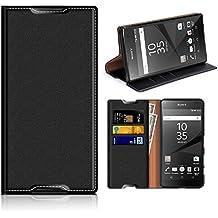 Funda Sony Xperia Z5, Mobesv Funda Cuero, Carcasa en libro, Ranuras para Tarjetas, Soporte Para Sony Xperia Z5 - Negro