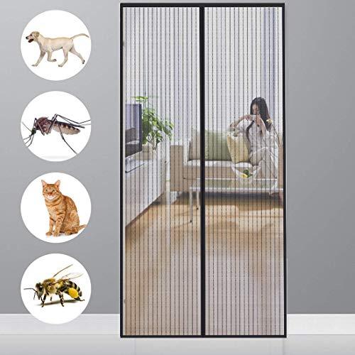 Cheng zanzariera magnetica adesivo 100x240cm, zanzariera porta, velcro adesivo, totalmente magnetica, adatto per porte fino a - nero