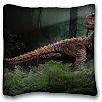 Decorativo Quadrato Throw Pillow Case animali Dinosauro Erba S Trees Reptiles Mesozoic Era 18 x 18 in due lati