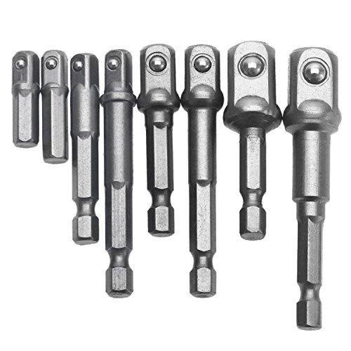 Paor 8 pcs Socket Adapter Impact de barres de forets à tige hexagonale 1/10,2 cm 3/20,3 cm 1/5,1 cm Embouts