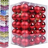 Jago WNKG01 Sfere albero natale 60 pezzi colore a scelta (Rosso)