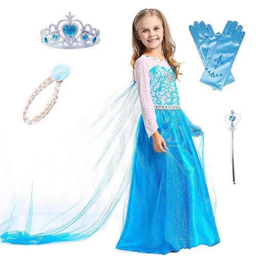 Shangrui Ice Queen Prinzessin Kostüm Set, aus Diadem, Handschuhen, Zauberstab und Zopf, Karneval Party