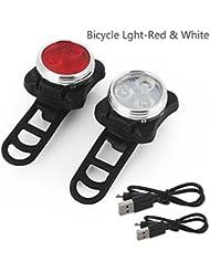 Gusspower USB wiederaufladbare Fahrradlampe Set, super helle Front und hintere LED Fahrrad Licht Set, 3 Licht Modus Optionen, wasserdicht, passt alle Fahrräder