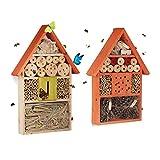 Relaxdays 2 TLG Insektenhotel Set, Schmetterlingshaus aus Holz, Schmetterlingshotel zum Aufhängen, Nisthilfe, Insektenhaus, orange