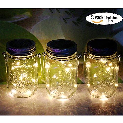 Preisvergleich Produktbild 3Pack Mason Jar Licht,  20LED Solar LED Glas Hängeleuchte,  Outdoor String Laterne,  Dekoration für Zuhause Party Garten Hochzeit (3Pack Warmwhite)