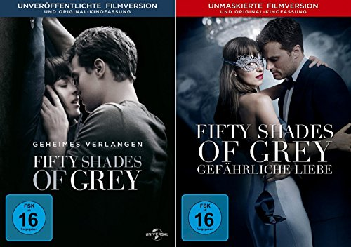 Fifty Shades of Grey - 1 Geheimes Verlangen + 2 Gefährliche Liebe (Unmaskierte Filmversion) im Set - Deutsche Originalware [2 DVDs] 50 Shades Of Grey Film