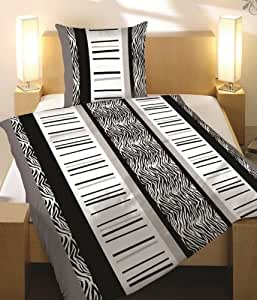 bettw sche 2 teilig microfaser 155x220 zebra schwarz weiss grau neu ovp k che haushalt. Black Bedroom Furniture Sets. Home Design Ideas