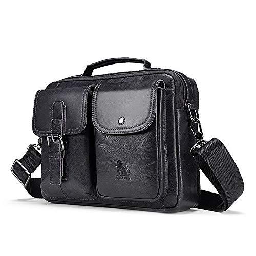 Klein Leder (UBaymax Leder Schultertaschen Herren, Kleine echt Leder Umhängetasche Handtasche Ledertasche, Vintage Business Messenger Bag, Schwarz)