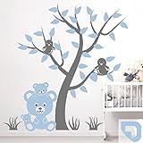 DESIGNSCAPE® Wandtattoo Teddybärenfamilie   Wandtattoo Kinderzimmer Bär mit Baum 88 x 90 cm (Breite x Höhe) Farbe 1: pastell-blau DW809103-S-F99