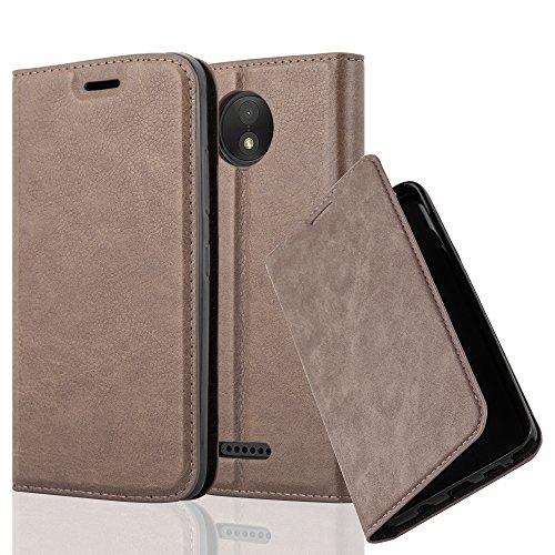 Cadorabo Hülle für Motorola Moto C Plus - Hülle in Kaffee BRAUN – Handyhülle mit Magnetverschluss, Standfunktion und Kartenfach - Case Cover Schutzhülle Etui Tasche Book Klapp Style