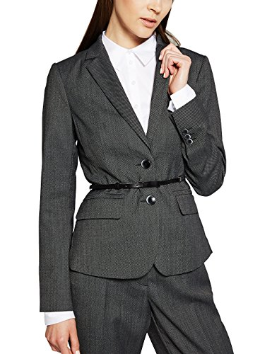 comma Damen Blazer 85.899.54.0128, Gr. 44, Grau (grey/black tweed 99P4) (Damen Tweed Blazer)