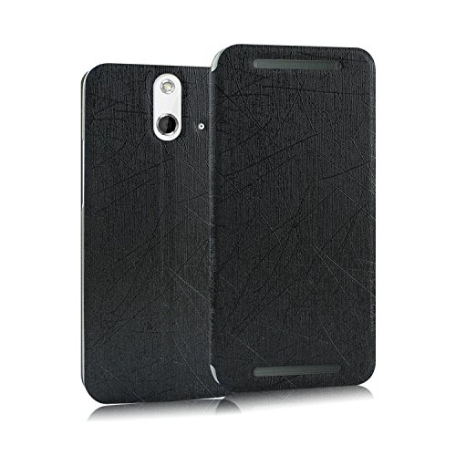 Heartly Premium Luxury PU Leather Flip Stand Back Case Cover For HTC One E8 - Black