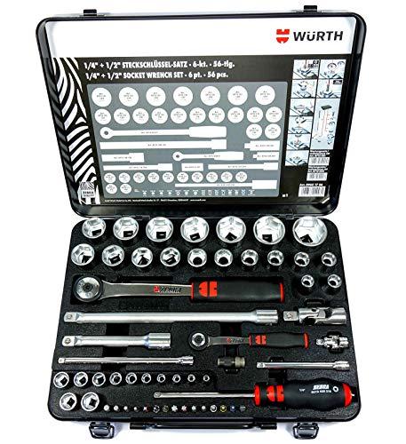 Würth Zebra Steckschlüssel 1/4 + 1/2 Zoll Sortiment 6-kant 56 Teile in Metallkassette