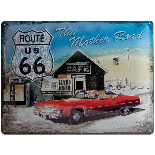 Nostalgic-Art 20371 US Highways - Route 66 The Mother Road, Blechschild 30x40 cm (Metall-schilder Der Route 66)