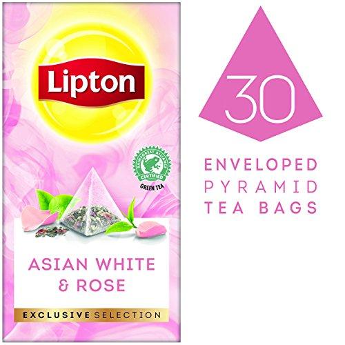 Lipton asiatischer weißer Tee und Rose Pyramid Teebeutel (mit Litschi- und Rosenaroma) 1er Pack (1 x 30 Teebeutel)