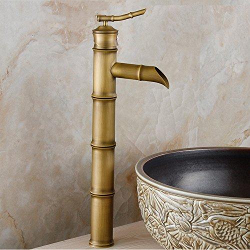 GQLB Einfache Hahn retro Wasserhahn Kupfer Wasserhahn Becken klassische Bambus heißen und kalten Wasserhahn einzelne Single griff Bohrung C 4 Abschnitt (Single Abschnitt 4)