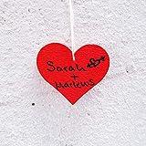 edelkern Holz Streuteile XXL - 50 x rote Herzen (50 x große Herz Teile) - Schöne Dekoration (Deko) zum Basteln (DIY) - 3