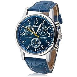 HARRYSTORE Mens Analog Watch Luxury Fashion Crocodile Faux Leather Wrist Watch Blue