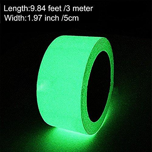 nd, Selbstklebendem Band, Warnband, Luminous Tape, Glow In The Dark, Wasserdicht, Abnehmbar, Sicherheit / 5cm * 3m, 1 Stück (Glow Tape)