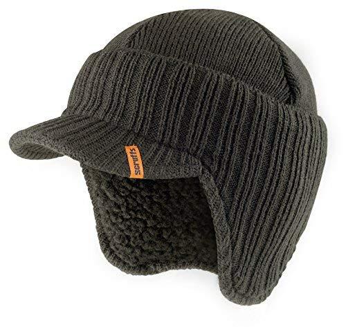Scruffs, cappello con visiera, termico e caldo, lavorato a maglia, invernale ed elegante (grigio grafite)