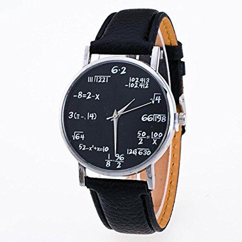 Uhr Damen Uhren DAY.LIN Mode Mädchen Muster Lederband Analog Quarz Vogue Uhren (Schwarz)