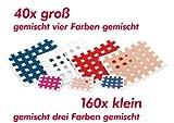 Startpaket Cross Akupunkturpflaster, 160 x klein 2,1 x 2,7cm (48x hautfarbe, 56x blau und 56x pink) und 40 x groß 4,4 x 5,2cm (je 10 x hautfarbe, blau, rot und weiß).