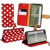 Emartbuy® Sony Xperia XA Brieftaschen Etui Hülle Case Cover aus PU Leder Polka Dots Rot Weiß mit Kreditkartenfächern