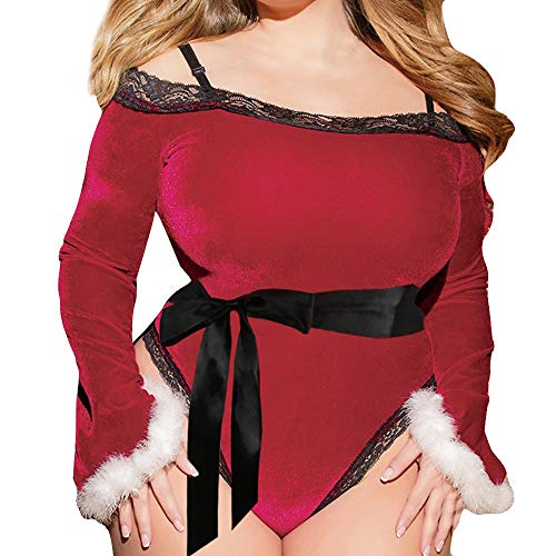 Underwear,Transwen Frauen Weihnachten Plus Size One Piece Pyjamas Dessous Sexy Langarm Unterwäsche Lingerie Rot Underpants Christmas Kostüm (S, Rot)