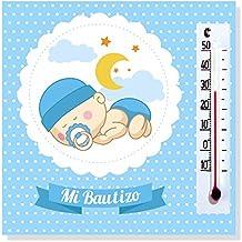 Detalles y Regalos de Bautizo Niño para invitados - Imanes con termómetro como Recuerdo de Bautizo