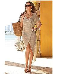 qxj vacaciones Cruz Pivot Bikini de uso Camisas Blusas de punto ganchillo calado faldas la playa chica, albaricoque,