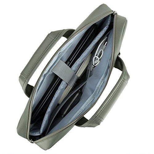 Notebook Aktentasche 17.3, Evecase Wasserdicht Jacquard Umhängetasche mit Gepolstert Laptopfach, Fronttasche, Zubehörfach, Rücktasche für Laptop in 17,3 Zoll - Jasper Grau 17.3 Zoll
