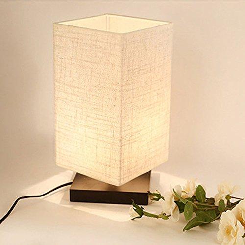 zeefo lampada da tavolo notte lampada, legno massiccio e paralume in ...