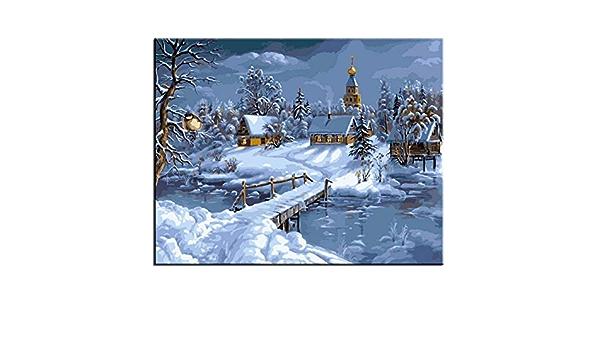 Paysage De Neige Mur Art Peinture /À lhuile par Num/éros sur Toile Picture Tableaux Muraux pour Salon Coloriage par Num/éros 40x50cm 16X20 sans Cadre