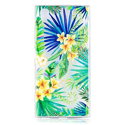 HopMore Compatible für Sony Xperia XA1 Plus Hülle Silikon Transparent Kreativ Muster Schutzhülle Durchsichtig Handyhülle Ultra Dünn Stoßfest Gummi Case Cover Slim Bumper - Grünes Blatt (Gummi-blatt Dünne)