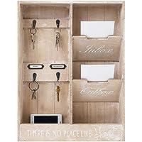 Organizador de pared muy elegante, con varios estantes y ganchos para las llaves, ideal para decorar el pasillo (48 x 36 x 7 cm, madera).