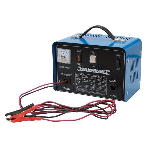 Silverline 268317 - Cargador batería 12/24 V Para