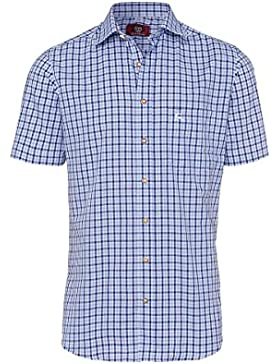 OS Trachten Moser Trachten Trachtenhemd Blau Karo Kurzarm 112624, Material Baumwolle
