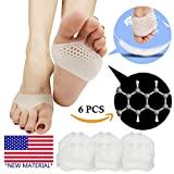 Metatarsal Pads, Ball of Foot Cushion (6 PCS) *NEW MATERIAL* Forefoot Pads, Breathable & Soft Gel, Best for Diabetic Feet, Callus, Blisters, Forefoot Pain. Can be sued for both feet For Men and Women. (White)